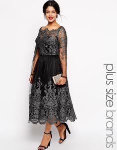 Chi Chi Plus Longsleeved Metallic Lace Bardot Midi Dress