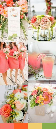 peach and green wedd