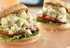 Cream of celery soup is the secret ingredient that makes this chicken salad creamy and flavorful...served on sesame seed buns, these sandwiches are sure to disappear quickly!
