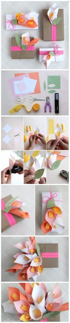 DIY Craft Gift Wrap flowers diy crafts home made easy crafts craft idea crafts…