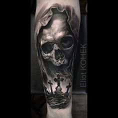 "862 Likes, 27 Comments - Eliot Kohek (@eliot.kohek) on Instagram: ""@silverbackink #realistic #skull #tattoo"""