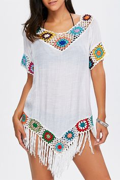 $13.33 Flower Crochet Tassel Tunic Cover-Up - White