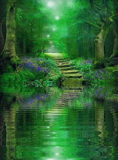 Enchanted Forest with Indigo flowers for Celtic woading art