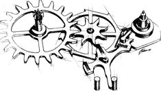 George Daniels drawing of co-axial watch escapement