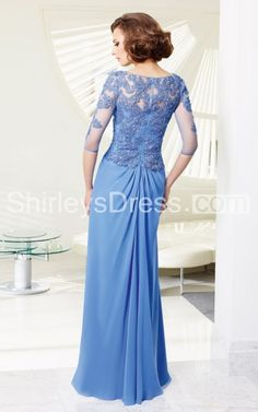 Sophisticated Long-sleeved Intricately Laced Long Formal Chiffon Dress