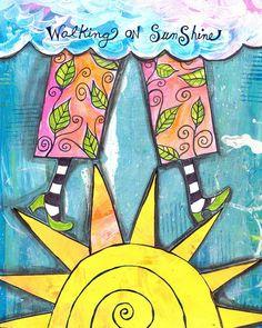 Walking on sunshine - art journal inspiration! Art Journal Pages, Art Journals, Mix Media, Mixed Media Art, Kunstjournal Inspiration, Art Journal Inspiration, Altered Books, Altered Art, Zentangle