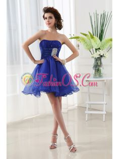 A-line Strapless Beading and Ruching Organza Prom Dress in Blue- $124.26