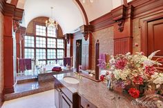 Traditional Master Bathroom with Drop-In Bathtub, Raised panel, Dome Brown…
