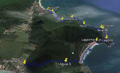 Tracklog Lagoinha do Leste em Florianópolis. Travessia saindo da Armação/Praia de Matadeiro e terminando em Pântano do Sul. Caminhada de um dia.