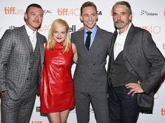 Photographic Proof that TIFF Is All About the Glitz and Glamour | LUKE EVANS, ELISABETH MOSS, TOM HIDDLESTON & JEREMY IRONS | Three men and a lady! The cast of High-Rise squeeze in together for a group photo before the Sept. 13 premiere of their film.