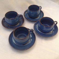 AUTHENTIC DENBY 4 English Blue Stoneware Cups and saucers RAM #Denby & Lot of 33 Pieces Denby / Langley Dinner Ware - Mayflower Pattern ...