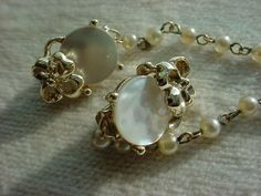 Vintage Sweater Chain Guard with Clips Mother of Pearl Shell Floral 5 inch #Unbranded Seller florasgarden on ebay
