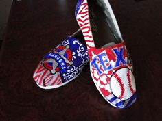 Texas Rangers Baseball Shoes by HeartNSoleDesigns on Etsy - this is a way to get me go wear Toms Cheap Baseball Jerseys, Texas Baseball, Rangers Baseball, Baseball Shoes, Texas Rangers, Baseball Stuff, Basketball Uniforms, Basketball Court, Painted Canvas Shoes