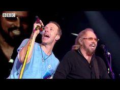 Coldplay - Stayin' Alive (feat. Barry Gibb) (Glastonbury 2016) - YouTube