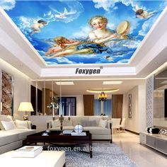 5m Fairy Angel Blue Sky Cloud European Mural Uv Print Fall Ceiling Design , Find Complete Details about 5m Fairy Angel Blue Sky Cloud European Mural Uv Print Fall Ceiling Design,Ceiling Design,Fall Ceiling Design,Angel Fall Ceiling Design from Supplier or Manufacturer-Shanghai Foxygen Industrial Co., Ltd. meeting room office ceiling decor DIY Uv print translucent film manufacturer from china  #stretchceilings #ceilingart #stretchceilingdesign   #stretchceilingdiy #barrisol #clipso