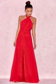 Red floaty maxi dress