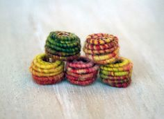 Big Hole 5.5mm Handmade Fabric Textile Beads by jimenastreasures, $11.50
