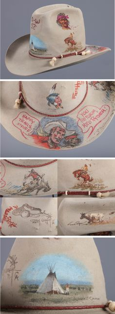 """An absolute one-of-a-kind contemporary western collaborative artwork. Snuff Garrett's custom illustrated, and painted hat by his artist pals. Includes a teepee scene by Michael Coleman; Olaf Wieghorst brand with Indian portrait; Bucking Horse by Joe Beeler; Indian portrait by R. Brownell McGrew; bucking horse by John Hampton; great calf roping by Tom Ryan; a spur by Gary Niblett and a large """"Red Ryder Comic"""" depiction by Fred Harman, with inscription. Colors are bright and the art is in very…"""