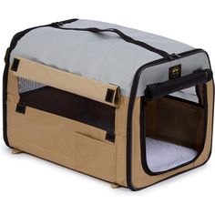 The collapsible design of the Pet Life Lightweight Folding Collapsible Zippered Easy Pet Crate Khaki makes it ideal for traveling and easy pet transport. Cãezinhos Bulldog, Soft Dog Crates, Pet Transport, Cat Crate, Airline Pet Carrier, Easy Pets, Dog Cages, Cat Carrier, Small Pet Carrier