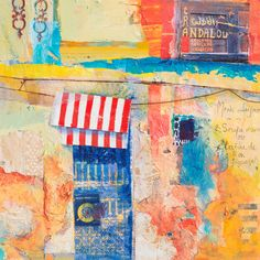 Karen Stamper - crumbling moroccan wall and doorway with red striped canopy