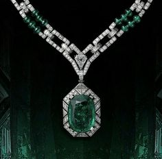 Viracocha Colombian Emerald Necklace by Cartier Emerald Necklace, Emerald Jewelry, Gems Jewelry, High Jewelry, Boho Jewelry, Bridal Jewelry, Turquoise Necklace, Jewelery, Fashion Jewelry