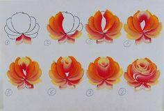 Rose Tutorial one stroke painting One Stroke Painting, Tole Painting, Fabric Painting, Painting & Drawing, Drawing Step, Painting Lessons, Art Lessons, Rose Tutorial, Pintura Country