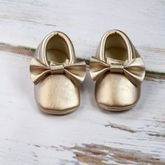 Gold Baby Moccasins | Gold Baby Moccasin w/ Bow | Gold Metallic Faux Leather Moccasins | Newborn Mocs | Gold Baby Shoes by OliveLovesApple