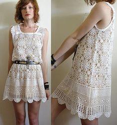 Vestido a crochet blanco wave