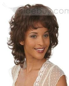 Capless Medium Curly Natural Brown Synthetic Wigs