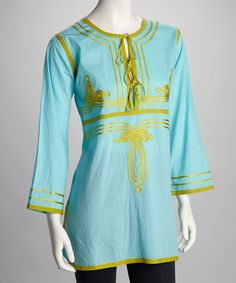 Take a look at this Barbara Gerwit Seafoam & Lime Ribbon Tie Tunic on zulily today!