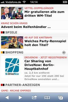 Das DriveNow-Werbe-Banner eingebunden in das radcarpet Publisher-Portfolio. Integriert in das mobile Banner ist die Distanzanzeige zum Angebot. Ortsbasiertes Werben wirkt! Powered by radcarpet.