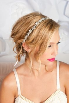 this bridal headband offers a ton of sparkle with rhinestones set  on metal mesh which could also be worn as a sash