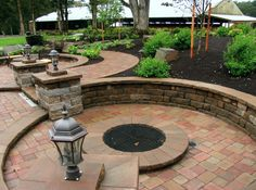 Patio Paver Maintenance: Green Home Landscape Source Outdoor Living Areas, Outdoor Spaces, Outdoor Events, Outdoor Decor, Outdoor Ideas, Concrete Paver Patio, In Ground Fire Pit, Stone Landscaping, Landscape Walls