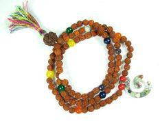 Yoga Mala Beads Navgraha Nine Stone Rudraksha Meditation Mala Sri Yantra Pendant Necklace