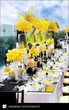 WOW…just wow! Look at this tablescape! I can't get over how gorgeous it is! I am not even sure where to start with the things I love about it. First theme color theme of yellow and black is lovely ...