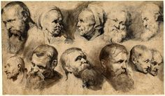 Rubens - Sheet of eleven studies of heads; in two rows, including two of an old woman and a white bearded man in the upper row. c.1619 Pen and brown ink, with grey and brown wash, over black chalk