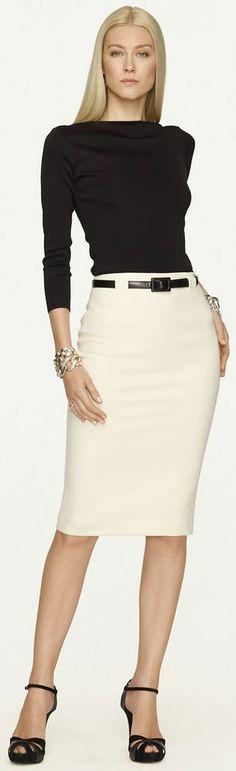 Ralph Lauren Black Label Skirt Fashion Trend cream and black work outfit Office Attire, Work Attire, Office Outfits, Office Wear, Work Outfits, Stylish Outfits, Outfit Work, Casual Attire, Office Fashion