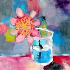 Abstract Flower Painting Naive Art by kerriblackmanfineart on Etsy