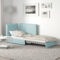 VALLENTUNA Sofa-bed module with backrests, Hillared light blue Ikea Vallentuna, Ikea Small Spaces, Armchair Bed, Flexible Furniture, Steel Bed, Ikea Family, Bed Slats, House Beds, Small Spaces