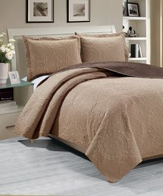 Another great find on #zulily! Ramallah Trading Company, Inc. Taupe & Chocolate Madison Reversible Three-Piece Quilt Set by Ramallah Trading Company, Inc. #zulilyfinds