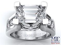 Horizontal Emerald Cut diamond Engagement ring in 14K White Gold