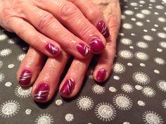 Gel nails, pink, zebra