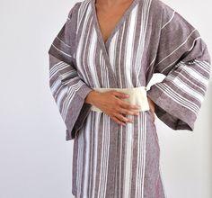 Peshtemal Robe Cotton Kimono Robe Dark Brown by ecofriendlybeauty, $60.00 Turkish Bath Towels, Cotton Kimono, Obi Belt, Piece Of Clothing, Dark Brown, Organic Cotton, Clothing