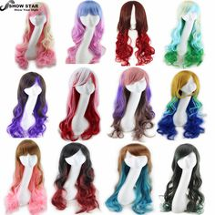 "Cheap cosplay stores, Buy Quality cosplay eyelashes directly from China cosplay wig commissions Suppliers:         SHOWSTAR Hot 28"" Long Curly Brown,Blue,Red,Grey,Blonde Wig Cosplay Anime Lolita Synthetic Wigs for Womens P"
