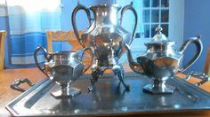 Early 1900 Homan Quad Silver Plate Coffee/Tea Urn Sugar Bowl Creamer & Tray SALE