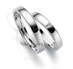 His & Hers Wedding Rings,10K White Gold Matching Wedding Bands,Womens Wedding Rings,His and Hers Matching Bands Set,Diamond Wedding Rings by TallieJewelry on Etsy