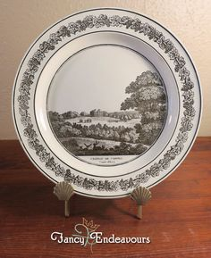 Antique Creil French Creamware Plate of English Scene Copped Hall Essex #Creil
