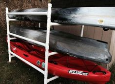 It's sufficiently sturdy for two or three kayaks, light, and inexpensive. It seems very stable but if you are concerned about stability just use the bottom two racks for kayaks and the top racks for paddles. I built the rack for roughly $130 in material cost. My widest kayak is 33″ and the rack dimensions handle that very nicely with some room to spare. You can see from the picture how I pieced it together. It's made from 1 1/2 inch PVC. Here's the parts list: