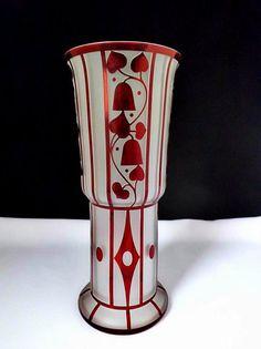 Bohemian Art Nouveau Style Czech Glass Vase