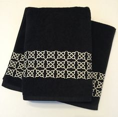 Black Damask Bath Towels Hand Towel Sets Bathroom August Ave